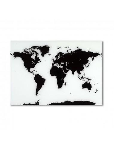 Mappa del mondo lavagna magnetica bianca in vetro 80x55 cm by NAGA