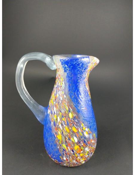 Caraffa vetro di murano blu e murrine con manico h 20 cm - The Glass Cathedral Santa Chiara