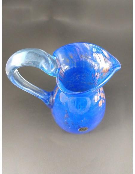 Caraffa vetro di murano blu con decori bronzo h 20 cm - The Glass Cathedral Santa Chiara