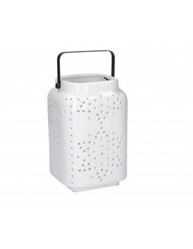 Lanterna in ceramica bianca per candela h 21 cm - LUCEBIANCA GRANDE by Rituali Domestici