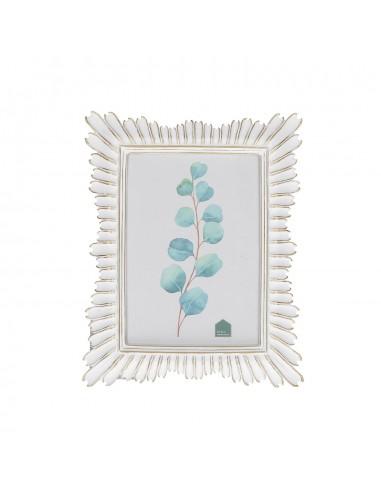 Portafoto da tavolo in resina bianco oro h 24 - PETALOSO  by Rituali Domestici