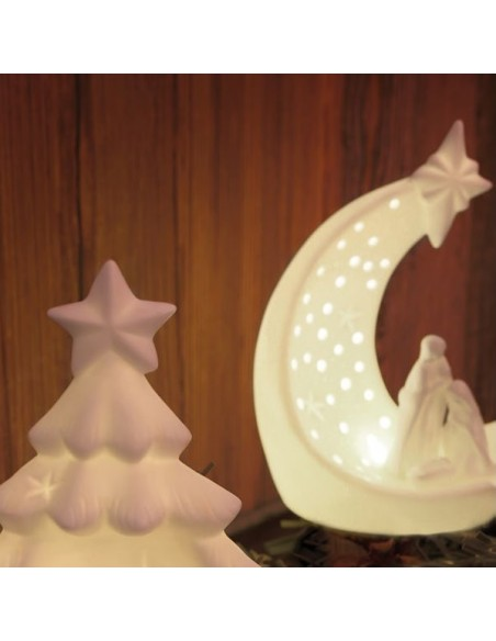 Natività luna in porcellana con illuminazione led h 18 cm - ENNATO by Rituali Domestici