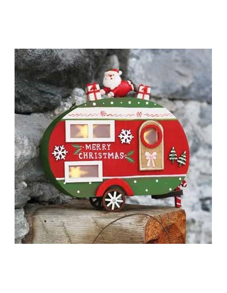 Lanterna roulotte merry christmas in legno con luce led - POLLICINO by Rituali Domestici
