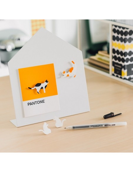 4 Magneti a forma di gatto con pennarello arancione o nero - SIAMESE CAT by Moreover