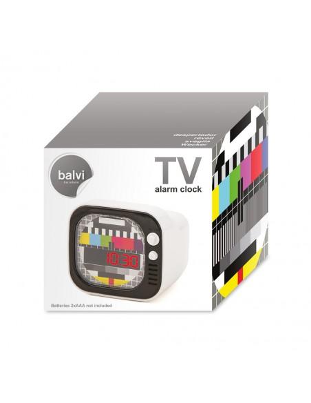 Sveglia digitale lcd televisore retrò colore bianco - TV by Balvi