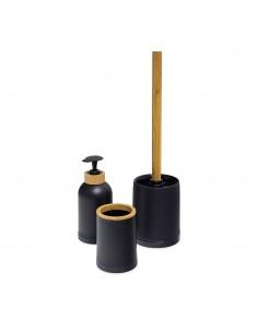 Set 3 accessori da bagno colore nero e bamboo - ZEN by Balvi