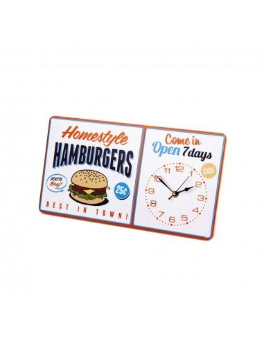 Orologio da parete targa vintage in metallo - HAMBURGER by BALVI