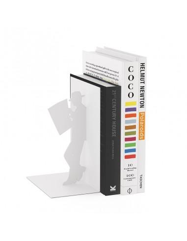 Fermalibri in metallo colore bianco - THE READER by BALVI