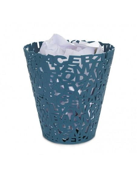 Cestino gettacarte in plastica colore azzurro - LETTERS by Balvi