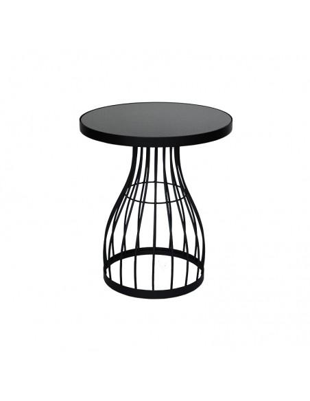 Tavolino alto in metallo nero e vetro - linea ZENIT by Rituali domestici