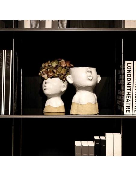 Portavaso testa che fischia in ceramica h 21 cm - EIOFISCHIO L by Rituali Domestici