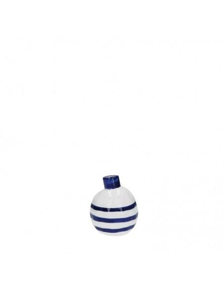 Vaso bottiglia porcellana righe blu h 10 cm - PUNTINISMO by rituali domestici