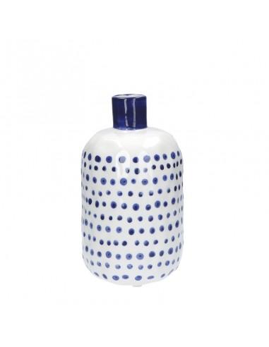 Vaso bottiglia porcellana pois blu h 25 cm - PUNTINISMO by rituali domestici