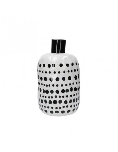 Vaso bottiglia porcellana pois neri h 25 cm - PUNTINISMO by rituali domestici