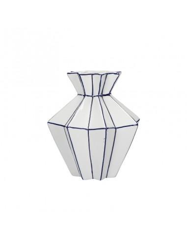 Vaso plissettato porcellana bianco blu h 21 cm - CUBISMO by Rituali Domestici