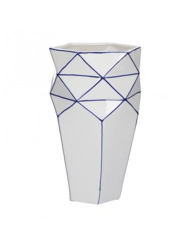 Vaso plissettato porcellana bianco blu h 25 cm - CUBISMO by Rituali Domestici