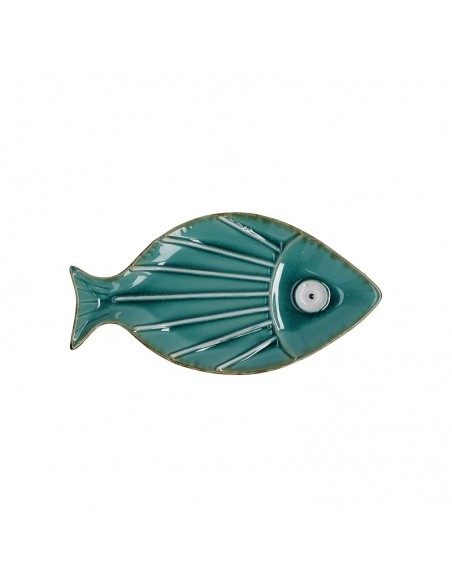 Tris di piatti decorativi in ceramica a forma di pesce L 24/27 cm - SUSANITA by Rituali Domestici