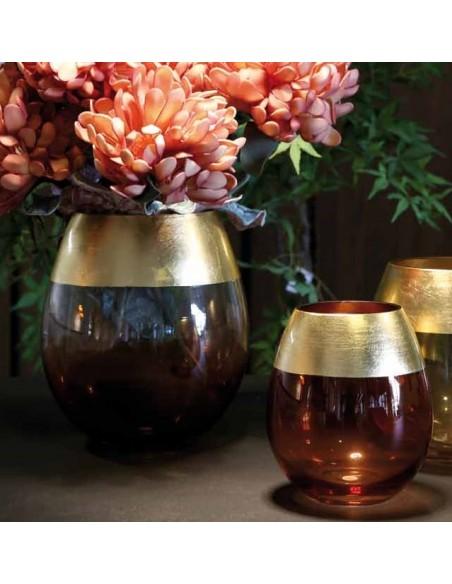 Vaso in vetro bordo dorato h 20,5 cm - BORDORATO L by Rituali Domestici