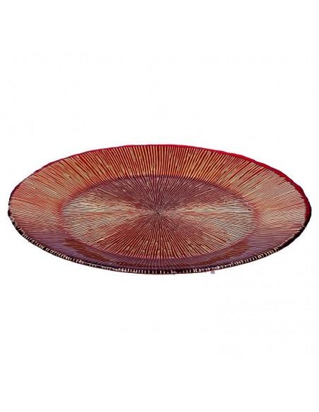 Vassoio in vetro rosso/oro diam 33 cm - MIDA by Rituali Domestici