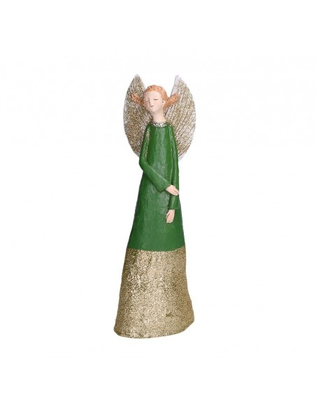 Statua angelo in resina con abito verde h 27 cm - GRETA S by Rituali Domestici