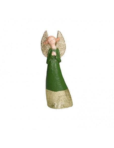 Statua angelo in resina con abito verde h 23 cm - GRETA XS by Rituali Domestici
