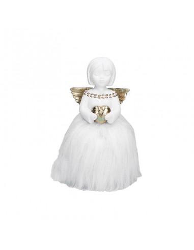 Statuina angelo in resina con cuore h 18 cm - PARADISO by rituali domestici