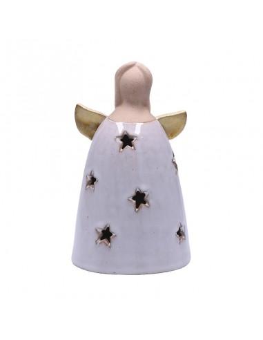 Angelo stilizzato in ceramica con luce led h 16 cm - ANGELO M by Rituali Domestici