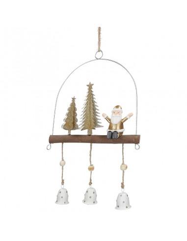 Decorazione da appendere babbo natale e campanelle h 29 cm - INCANTO by Rituali Domestici