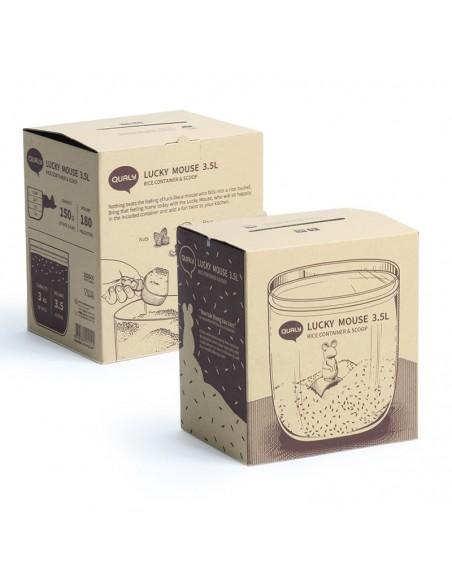 Contenitore per alimenti con paletta dosatrice L 3,5 - LUCKY MOUSE by Qualy