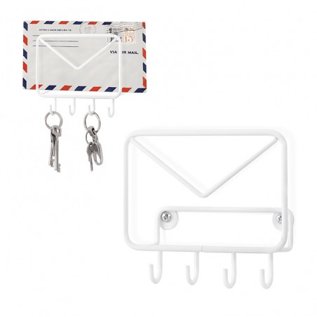 Portaposta e portachiavi metallo colore bianco - MAIL by Balvi