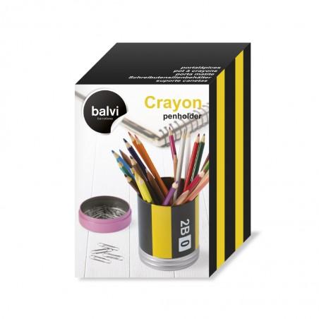Portapenne con contenitore a forma di matita metallo - CRAYON by BALVI
