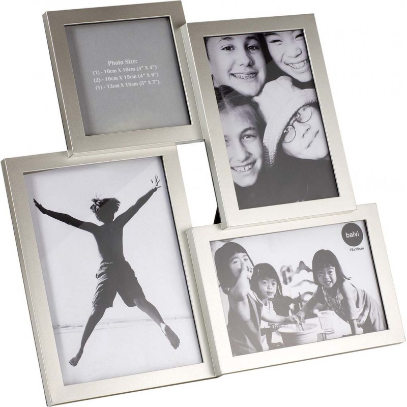 Portafoto multiplo in plastica colore silver - ISERNIA by BALVI