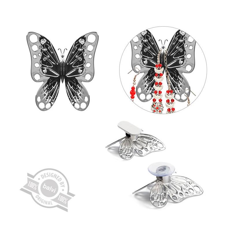 2 Porta accessori a forma di farfalla cromata - VOLARE by BALVI