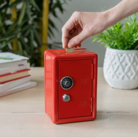 Salvadanaio cassaforte con serratura colore rosso - MONEY BANK by BALVI