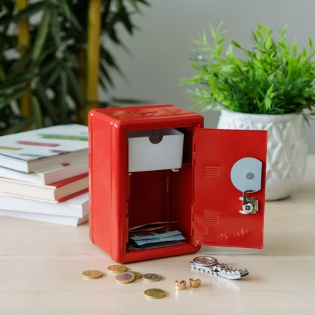 Salvadanaio cassaforte con serratura colore rosso - MONEY BANK by BALVI